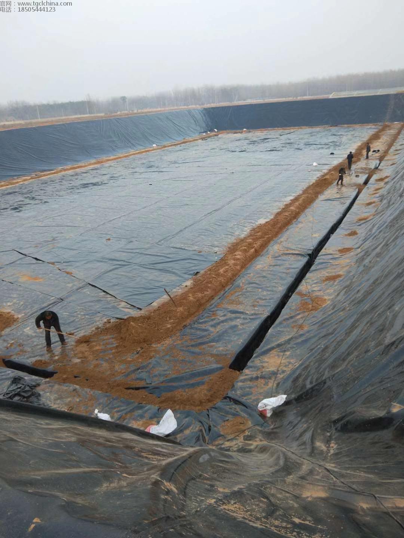奶牛场氧化塘1.5mm土工膜铺设焊接中