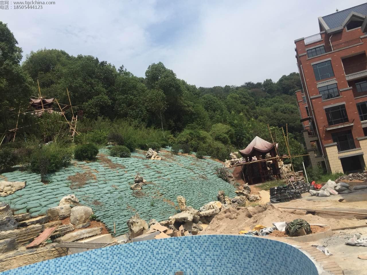 景观工程使用长丝生态袋,做护坡效果